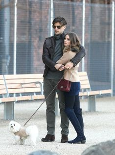 The Olivia Palermo Lookbook : Spotted : Olivia Palermo and boyfriend Johannes Huebl strolling arm in arm at the Brooklyn Bridge Park.