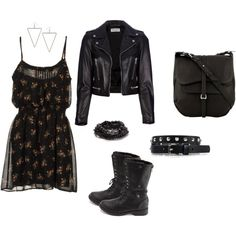 Fall slingy cami dress, biker boots, satchel and leather jacket. Wear w/ hair long and straight or high pony