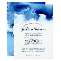 Shop BAR MITZVAH gold stylish blue watercolor invite created by simplysweetPAPERIE. Personalize it with photos & text or purchase as is! Sesame Street Invitations, Sweet 16 Invitations, Zazzle Invitations, Invitation Cards, Invites, Bar Mitzvah Invitations, Bridal Shower Invitations, Birthday Invitations, Watercolor Invitations