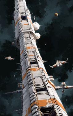 Pat_Presley_Concept_Art_ShuttleApproach_V02 - Kommt meiner Vorstellung der ringförmigen 'Maschine' nahe (zu sehen ist einTeil). Es ist die 'Space-shrink-machine' der Anschuri, die ihnen ermöglicht in kurzer Zeit sehr große Distanzen im Weltall zurückzulegen. Aufgrund einer Fehlfunktion dieser Maschine irrt die Besatzung des Raumfahrzeuges durch das Universum.