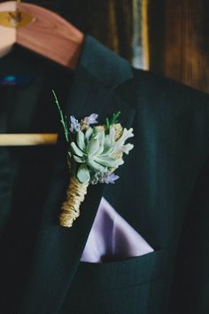simple, rustic boutonniere with succulent