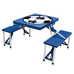 Outdoor Picnic Time Blue Folding Picnic Table With Soccer Imprint - 811-00-139-980-0