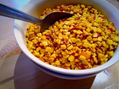 End-of-summer deliciousness: Sweet Corn with Tomatoes & Peppers.