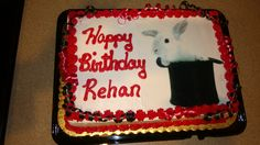 Rabbit in a hat birthday cake. The birthday mom took a photo to a grocery store, and they created it in photo-realistic frosting!  Cool!