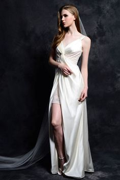 Buy Discount 2015 Wedding Dresses For A Beach Wedding with V-neck,A-line,Satin Fabric,Floor-length 2015 Wedding Dresses, Bridal Dresses, Wedding Gowns, Lace Bride, Silk Charmeuse, Satin Fabric, One Shoulder Wedding Dress, Formal Dresses, Party Supplies