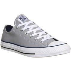 Converse All Star Low Leather ($85) ❤ liked on Polyvore featuring shoes, sneakers, converse, zapatos, trainers, grey navy, unisex sports, gray shoes, leather sneakers and sports shoes