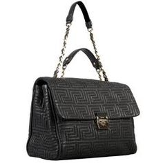 77ac837ef2b5 GIANNI VERSACE COUTURE large black quilted leather shoulder day bag