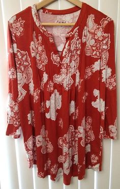 d105299df7bc5 Simply Emma Pintuck Burnt Orange Paisley Graphic Design Top Womens Plus Size  1X