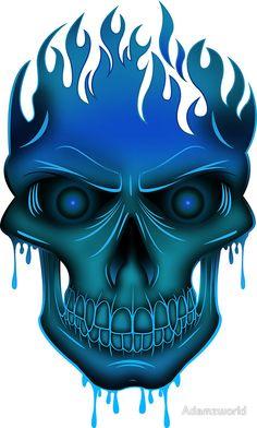 Flame Skull - Blue