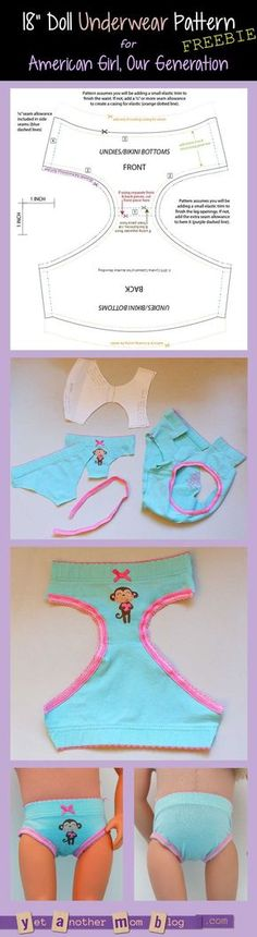 Generation/American Girl undies/bikini bottoms pattern freebie American Girl/Our Generation Doll underwear pattern freebieThe American The American may refer to: Sewing Doll Clothes, American Doll Clothes, Baby Doll Clothes, Doll Clothes Patterns, Barbie Clothes, Clothing Patterns, Doll Patterns, Sewing Toys, Sewing Patterns