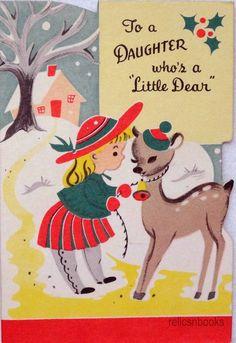 #788 50s Buzza Cardozo Girl & Deer-Vtg Juvenile Diecut Christmas Card-Greeting