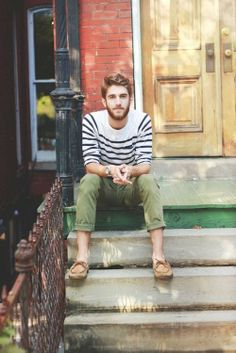 — White and Navy Horizontal Striped Crew-neck Sweater — Olive Chinos — Tan Leather Boat Shoes