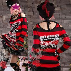 Red and Black Stripe Cutout Shoulder Punk Emo Scene Clothing Sweaters SKU-11411005
