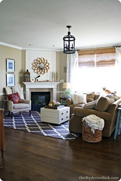 Thrifty Decor Chick: Our Home   Decorating Resource Rug Is Neat It Gives A  Pop Of Color. Check Out 25 Corner Fireplace Living Room Ideas ...