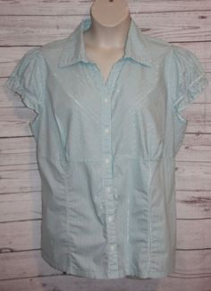 845c6e9048e37 Torrid Women s Blouse Blue Metallic Stripe Button Front Short Sleeve Size 3   Torrid  Blouse