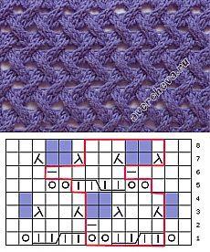 узор 393 плетенка из жгутов с ажуром | каталог вязаных спицами узоров