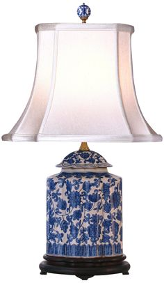 Blue and White Floral Scalloped Porcelain Tea Jar Table Lamp -