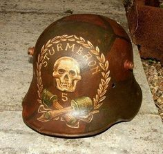 German stormtrooper helmet, World War I.