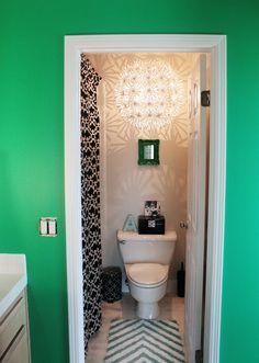 small half bath + ikea chandelier