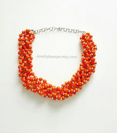 Hey, I found this really awesome Etsy listing at https://www.etsy.com/listing/454552784/rustic-orange-necklacechunky-beaded-bib
