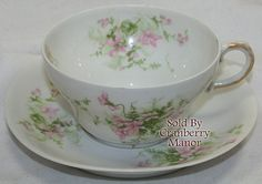 Theodore Haviland Limoges France, Tea Cup & Saucer, Pink Green Flower Floral Vintage French Fine Porcelain China