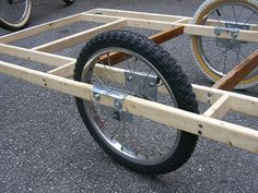 DIY: Free advice on how to fix your bicycle: Big Homebuilt El Cheapo Bicycle Cargo Trailer Custom Trailers, Cargo Trailers, Bike Cargo Trailer, Bicycle Cart, Bicycle Sidecar, Tricycle Bike, Velo Cargo, Electric Box, Trailer Diy
