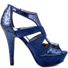 Neola 2 heels Blue Multi Texture brand heels G design by Guess
