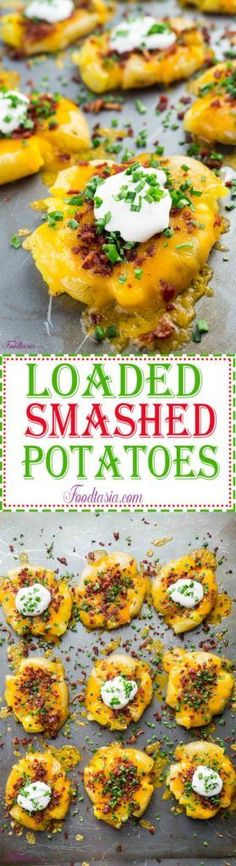 Loaded Smashed Potatoes - Baby potatoes smashed then topped with lots of cheese, crumbled bacon, sour cream, and chives. So easy to make and so irresistible