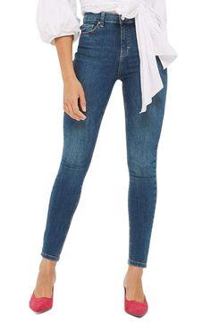 Main Image - Topshop Jamie High Waist Crop Skinny Jeans (Blue Green)