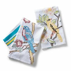 Embroidered Bird on Branch Towels - look for similar old fashioned embroidery patterns