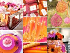 orange and pink wedding inspiration board