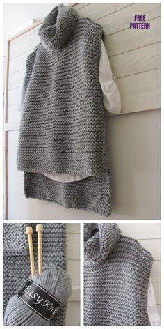 Easy Knit Women Sweater Vest - Free Pattern - knitting is as easy as . - Easy Knit Women Sweater Vest – Free Pattern – Knitting is as easy as 3 Knitting boils dow - Knit Vest Pattern, Knit Sweater Patterns, Easy Knitting Patterns, Knitting Projects, Sewing Patterns, Knitting Ideas, Stitch Patterns, Crochet Patterns, Knitting Tutorials