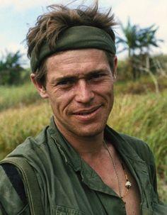 Veteran. Willem Dafoe (sergent Elias) dans Platoon, de 1986 d'Oliver Stone. Un film humaniste sur la guerre du Vietnam