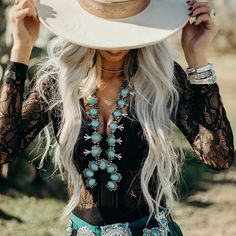 The Jackson Turquoise Squash Blossom Necklace – Baha Ranch Western Wear Cowgirl Chic, Western Chic, Cowgirl Mode, Country Western Fashion, Gypsy Cowgirl, Western Hats, Country Western Dresses, Cowgirl Belts, Southern Fashion