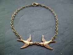 Vintage Schwalben Armband/Armkette Bronze