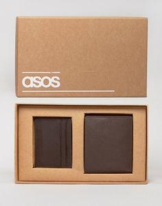 ASOS   ASOS - Coffret cadeau avec portefeuille et porte-cartes en cuir