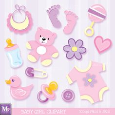 Baby GIRL Clipart Illustrations, INSTANT DOWNLOAD Fun Scrapbook Style Baby Clip Art Icons