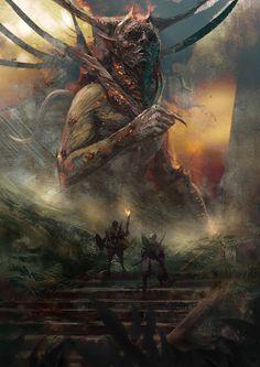 Secret Tomb by Murat Gül on ArtStation Dark Fantasy Art, Fantasy Artwork, Fantasy World, Dark Art, Fantasy Monster, Monster Art, Arte Horror, Horror Art, Arte Obscura