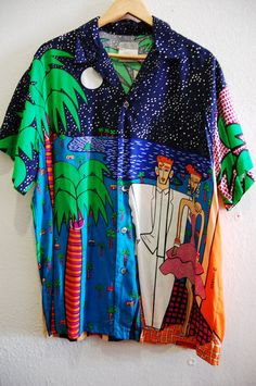 90s Neon Colorful Pop Art Resnicoff Esprit Hawaiin Palm Tree Mens Shirt XL ($60.00) - Svpply