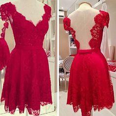 Sexy Backless V-neck Lace Dress - Fashion Dresses - Clothing