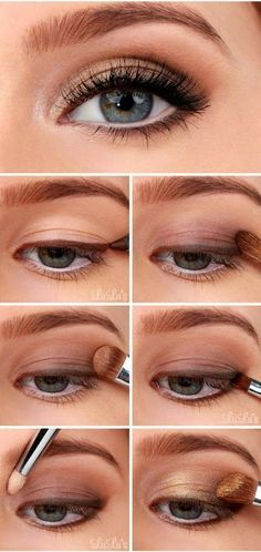 Golden Smokey Eye Make-up Tutorial! :-) Golden Smokey Eye Make-up Tutorial! Smokey Eyeshadow Tutorial, Eyeshadow Tutorial For Beginners, Eyeshadow Tutorials, Video Tutorials, Beauty Tutorials, Eyeshadow Step By Step, Natural Makeup Tutorials, Make Up Tutorials, Beginner Makeup Tutorial