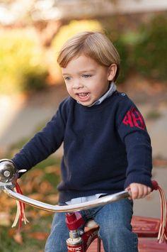 little boy sweater - monogram on the sleeve = precious!
