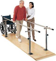 Andadores con barandas para facilitar el movimiento de las piernas y así poder ejercerlas.