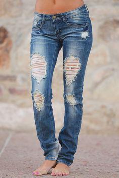 Machine Distressed Skinny Jeans - Selena Wash