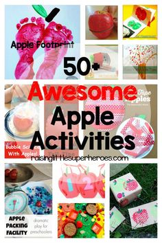 Fall is just around the corner and you know what that means… apples, apples, apples!  But, apples aren't just for eating.  There are so many fun activities for kids that you can do with apples.  Check out these 50+ Awesome Apple Activities For Kids.