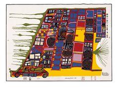 The Moving House  LA CASA MOBILE    Published in 2001  Silk screen 5 in the portfolio LA GIUDECCA COLORATA  Format: 560 mm x 760 mm  Image: 507 mm x 720 mm  Silk screen in 8 colours with metal embossing in 1 colour
