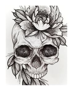 Cool Skull Tattoos For Women – My hair and beauty Kunst Tattoos, Body Art Tattoos, Sleeve Tattoos, Tattoo Pink, 1 Tattoo, Tattoo Outline Drawing, Outline Drawings, Flower Outline Tattoo, Design Your Tattoo