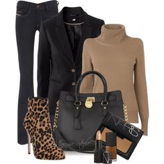 Camel & Black. One cannot go wrong with this color combo. And one can always go right with that MICHAEL Michael Kors bag:) That leopard ankle boot is sassy, sassy, & sassy!