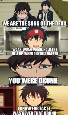Blue Exorcist and Devil is a Part-Timer-When Maou met Rin and Yukio