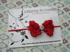 Red Bow Headband  Christmas Headband  by JoMazingAccessories, $7.49